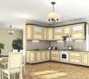 Кухня Платинум Ваниль супермат золотая патина