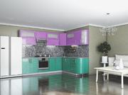 Кухня Гламур Аквамарин металлик и Сакура металлик