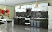 Кухня Гламур Бело-черный глянец