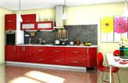 Кухня Гламур красный глянец